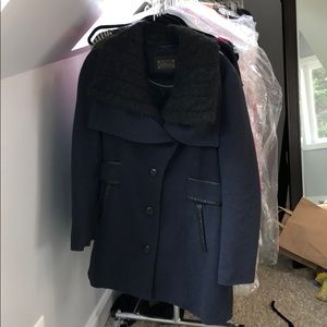 Mackage wool navy short coat w/ removable collar